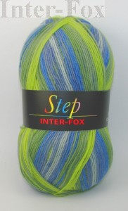 Step Superwash kolor nr 831  (ecru, jeans, niebieski, zielony)